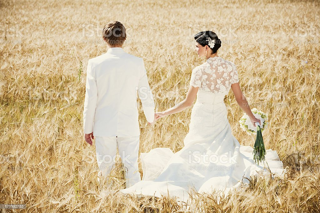 Bride and Groom walking on a field royalty-free stock photo