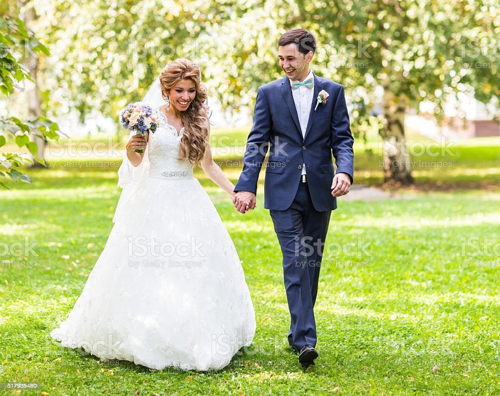 Bride and Groom wedding day stock photo