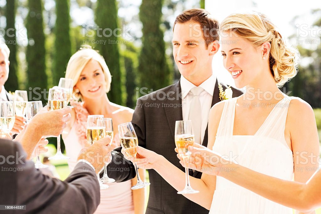 Bride and Groom With Guests Toasting Champagne Flutes During Reception royalty-free stock photo