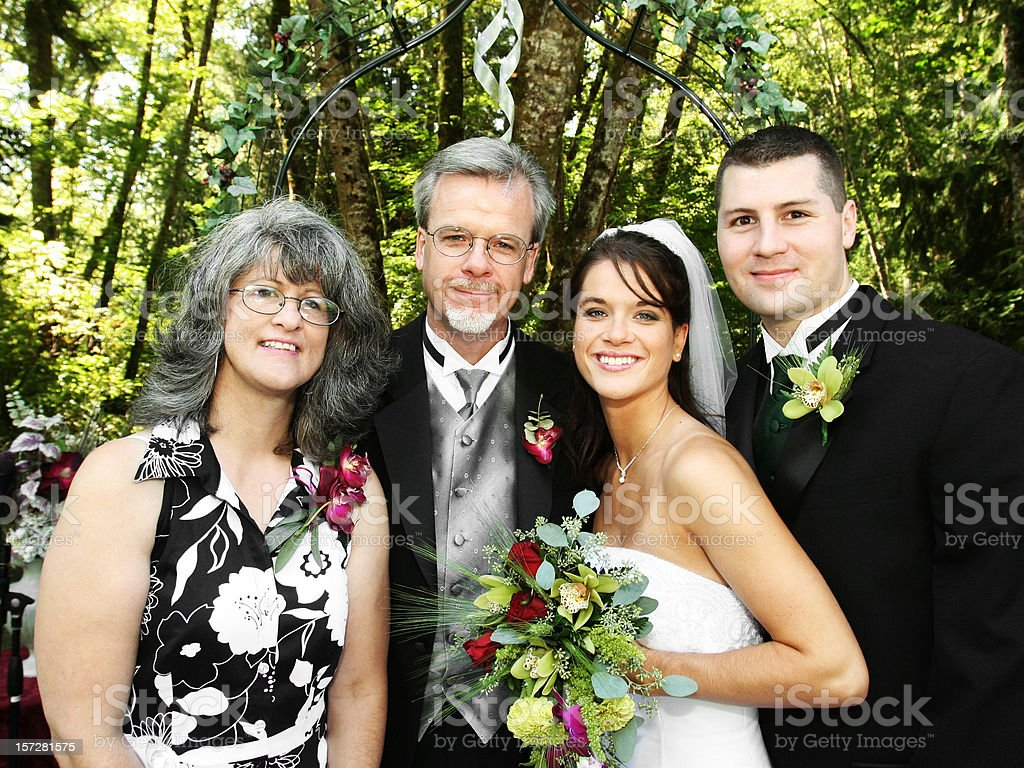 Bride and Groom with the Parents royalty-free stock photo