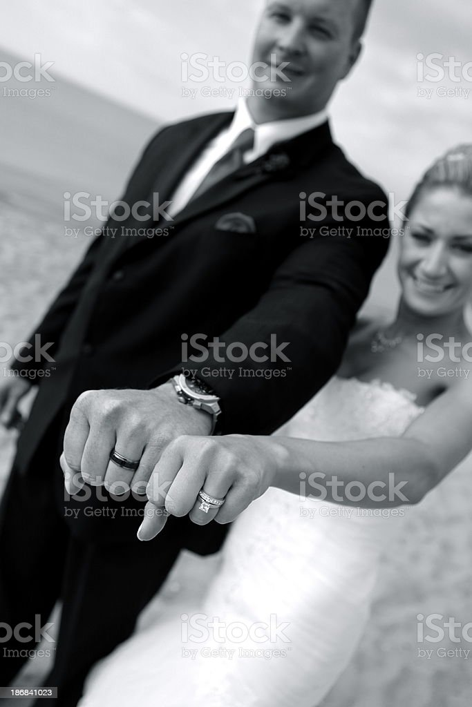 Bride and Groom with Wedding Bands royalty-free stock photo