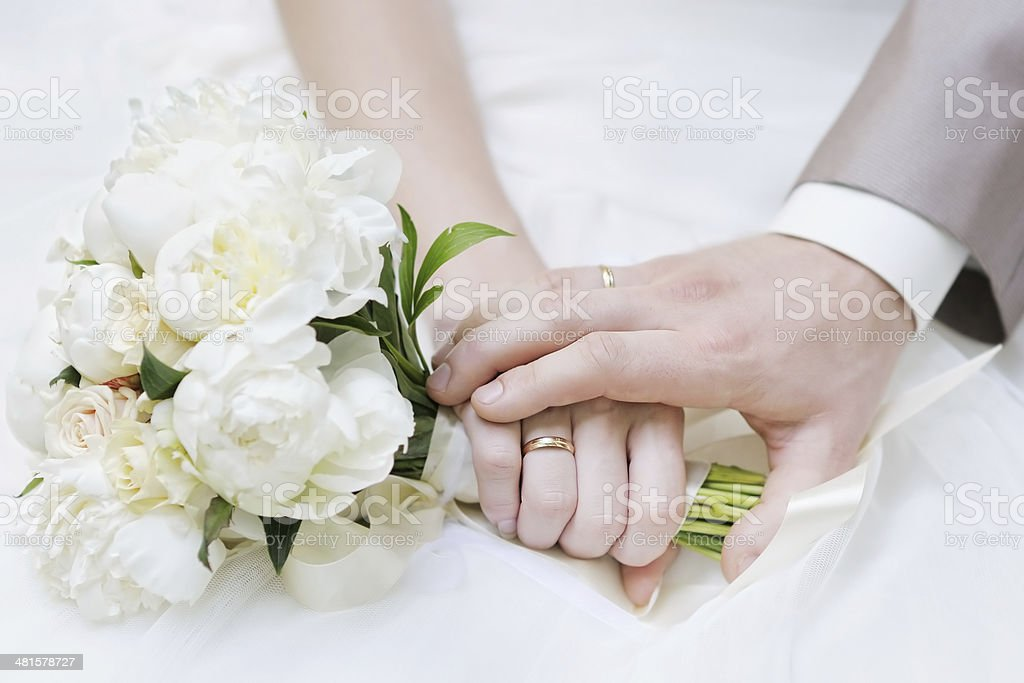 Bride and groom's hands stock photo