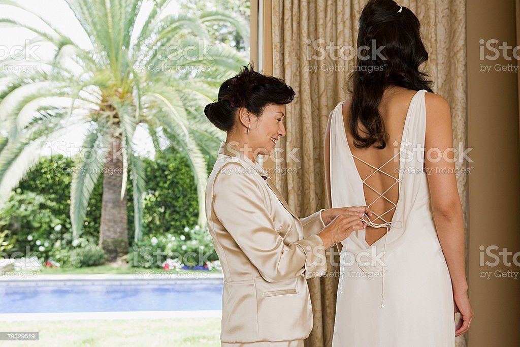Bride and mother royalty-free stock photo