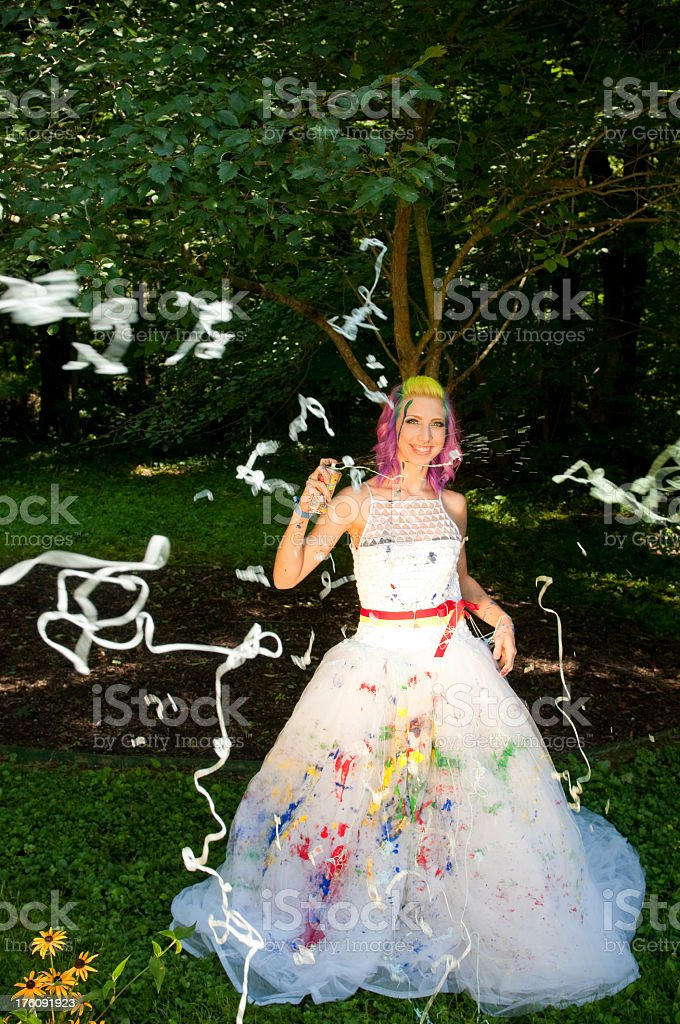 Bride and party String royalty-free stock photo