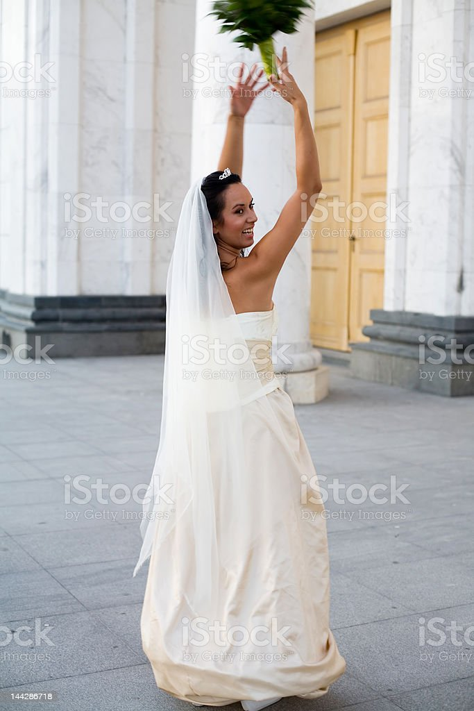 bride and the wedding bouquet stock photo