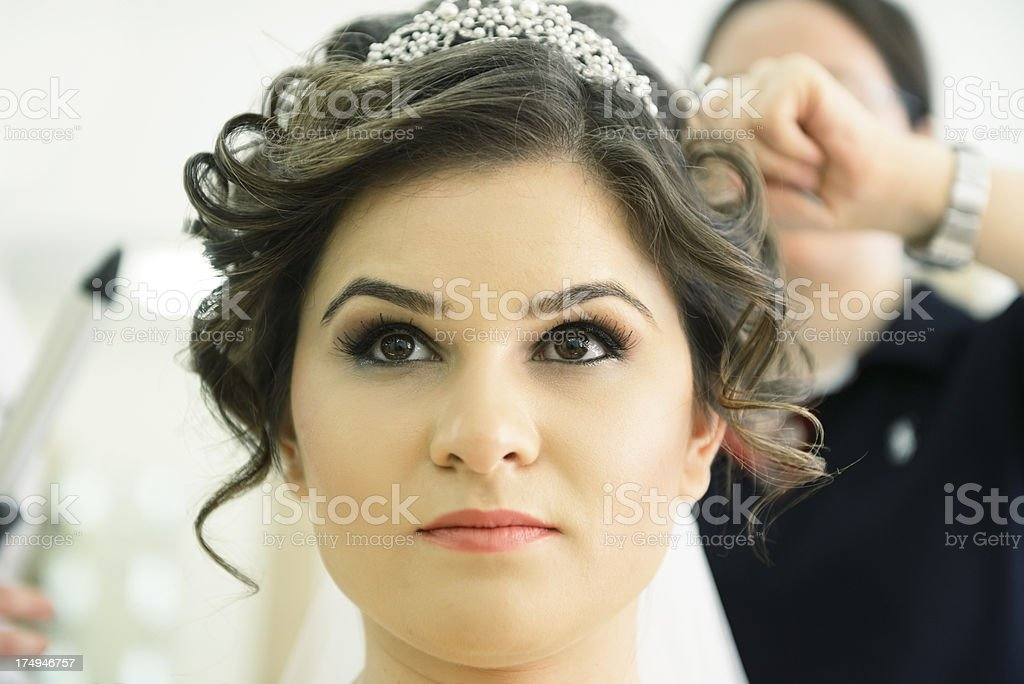 Bride at the beauty saloon stock photo