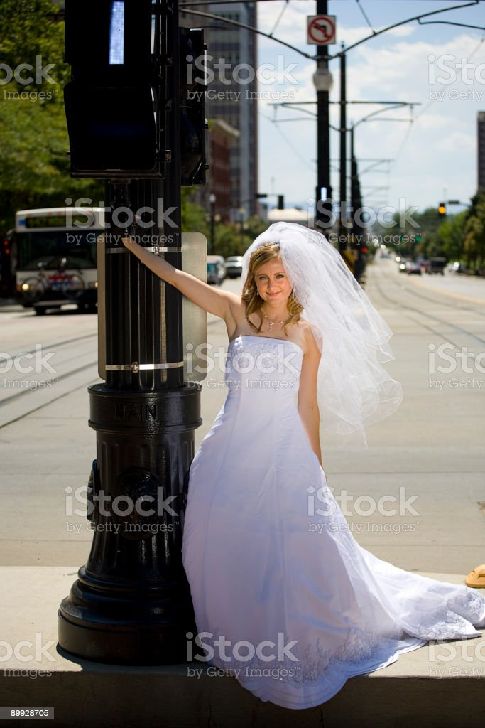 Bride at Train Station stock photo