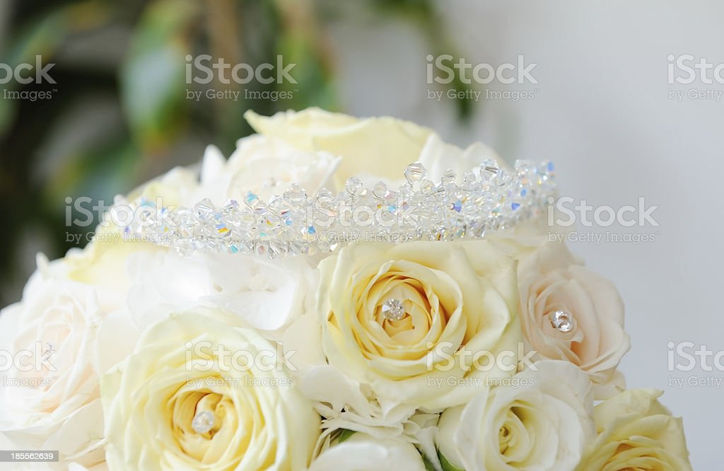 Bride bouquet and tiara royalty-free stock photo
