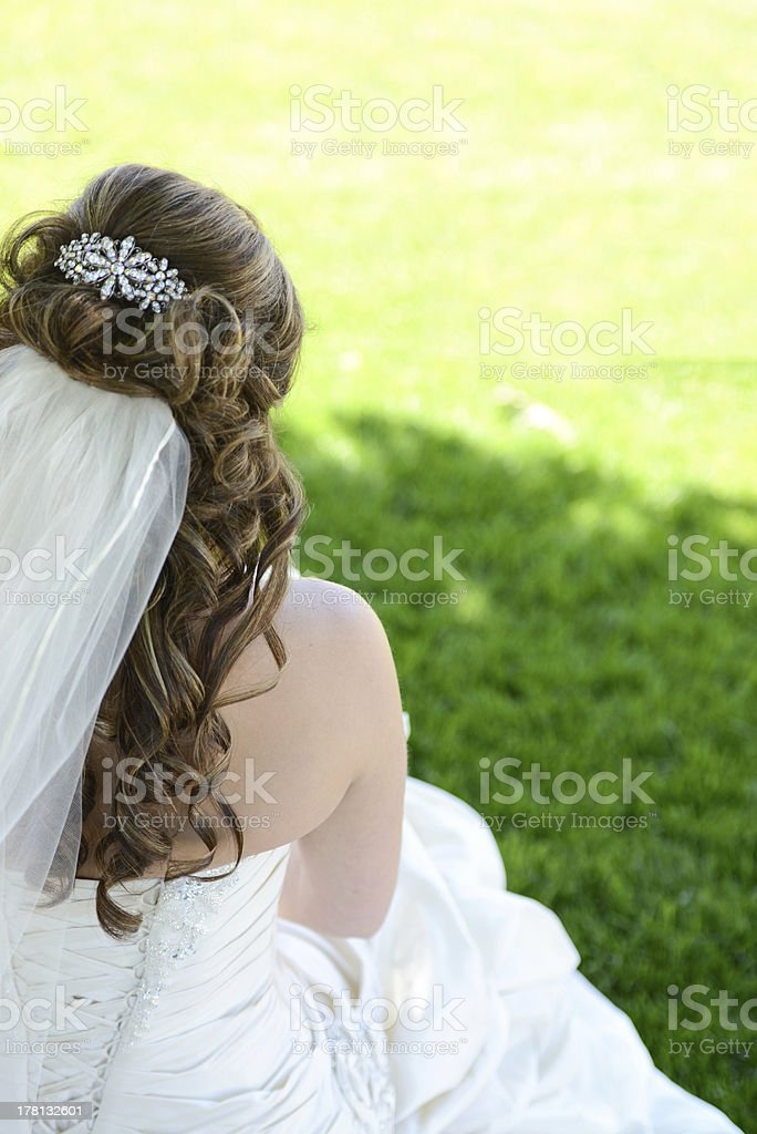 Bride facing away royalty-free stock photo