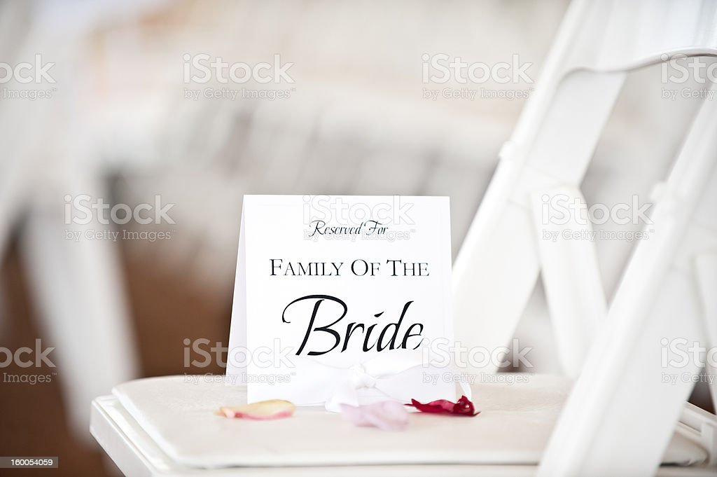 Bride Family Wedding Place Card on Chair at Ceremony stock photo