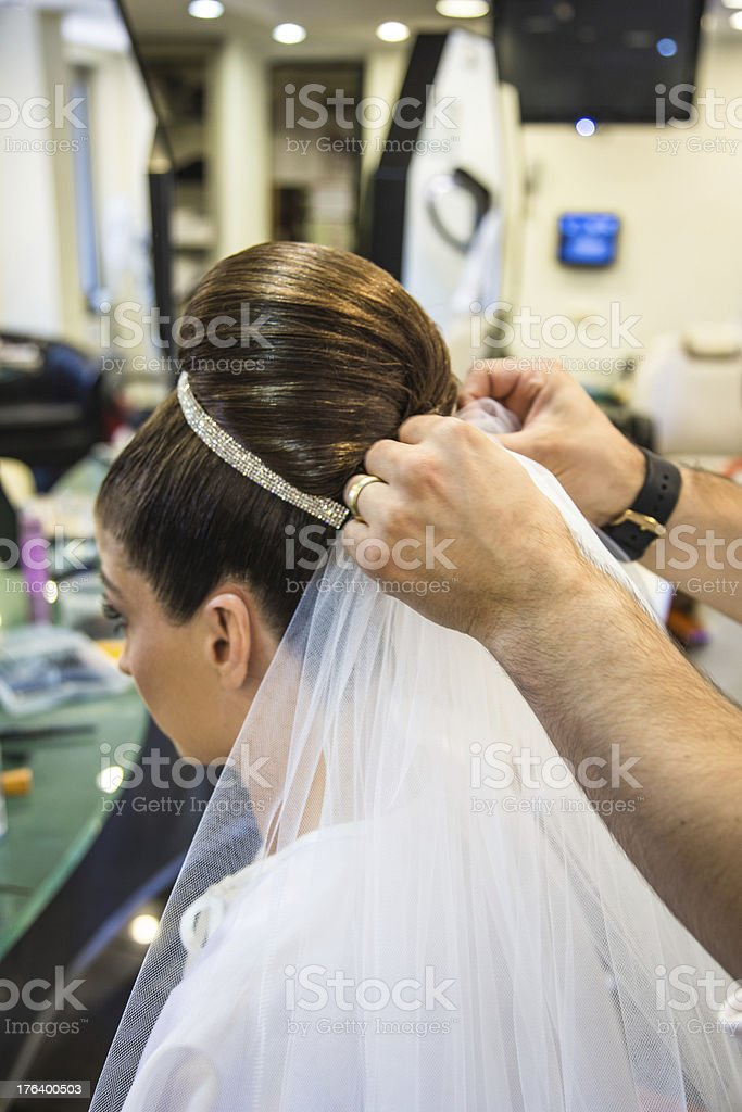 bride getting ready for wedding royalty-free stock photo