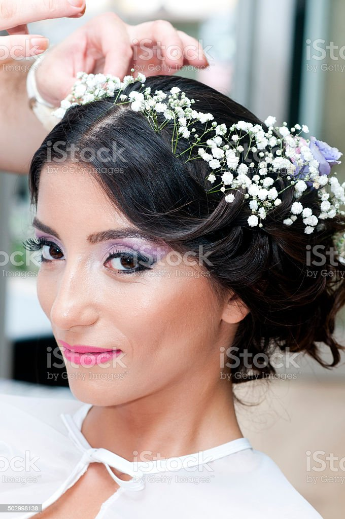 bride getting ready for wedding stock photo