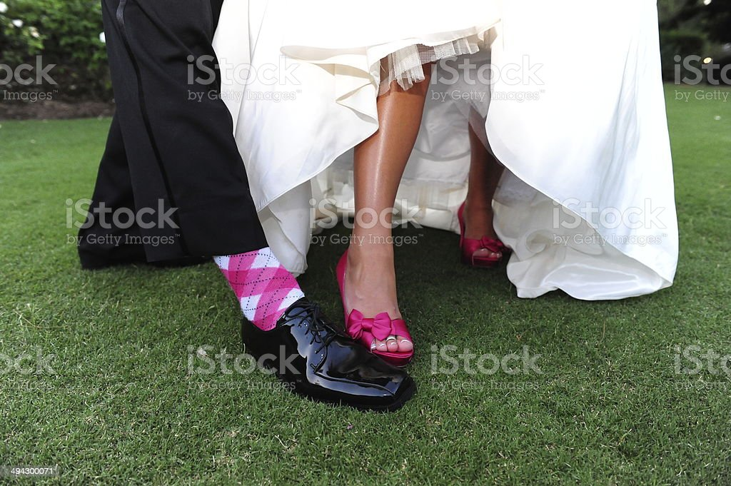 Bride & Groom Feet in Shoes Wedding Day stock photo