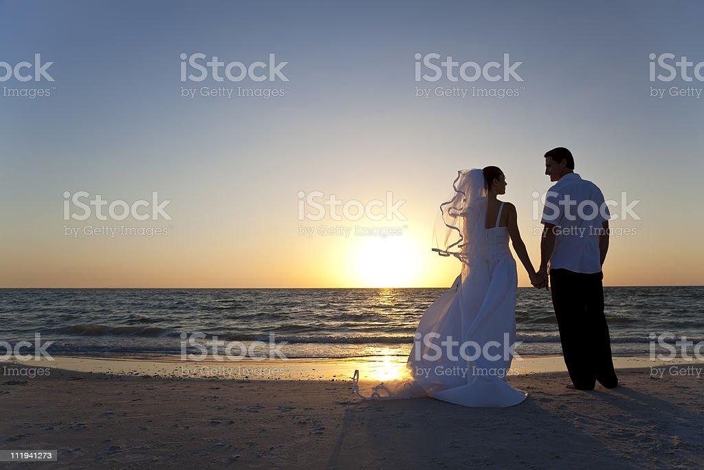 Bride & Groom Married Couple Sunset Beach Wedding royalty-free stock photo