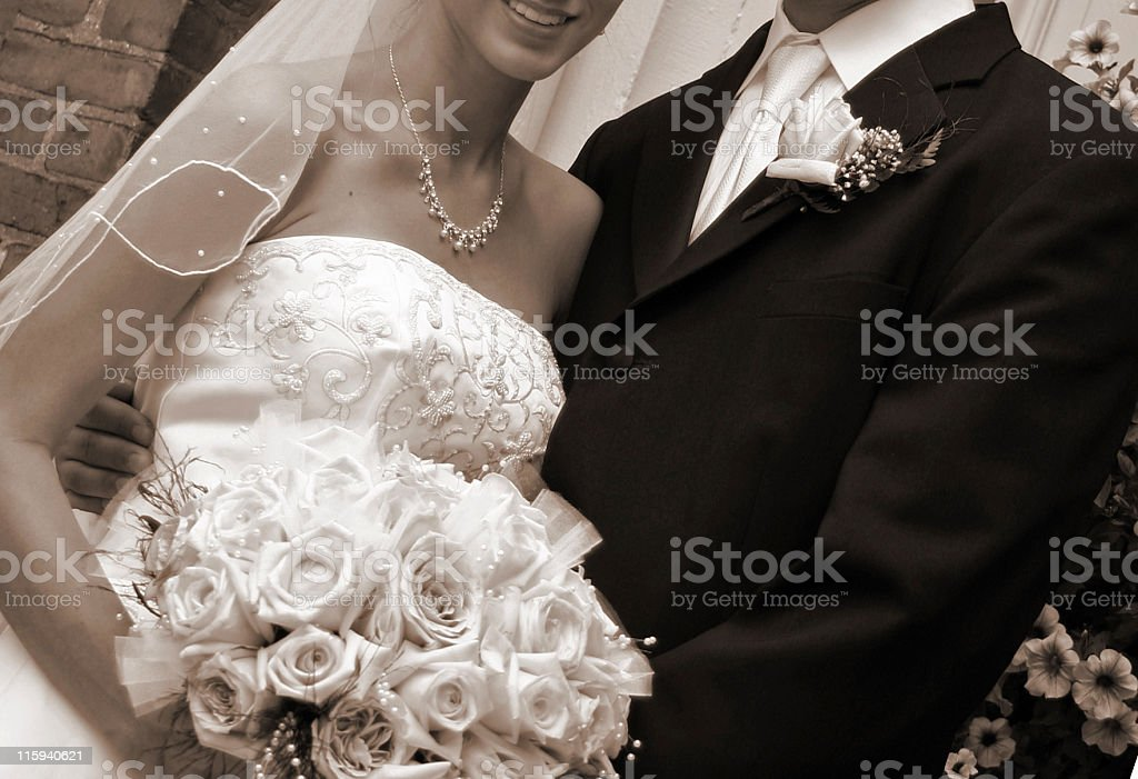 Bride & Groom - Sepia royalty-free stock photo