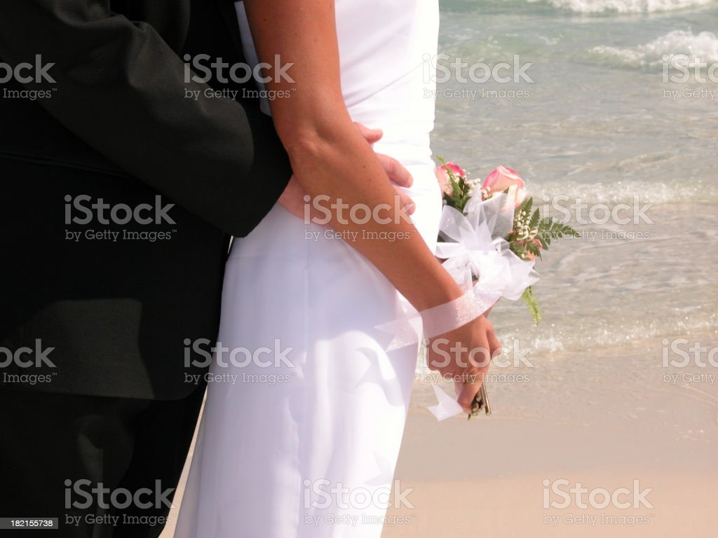 Bride Groom Wedding at Beach royalty-free stock photo