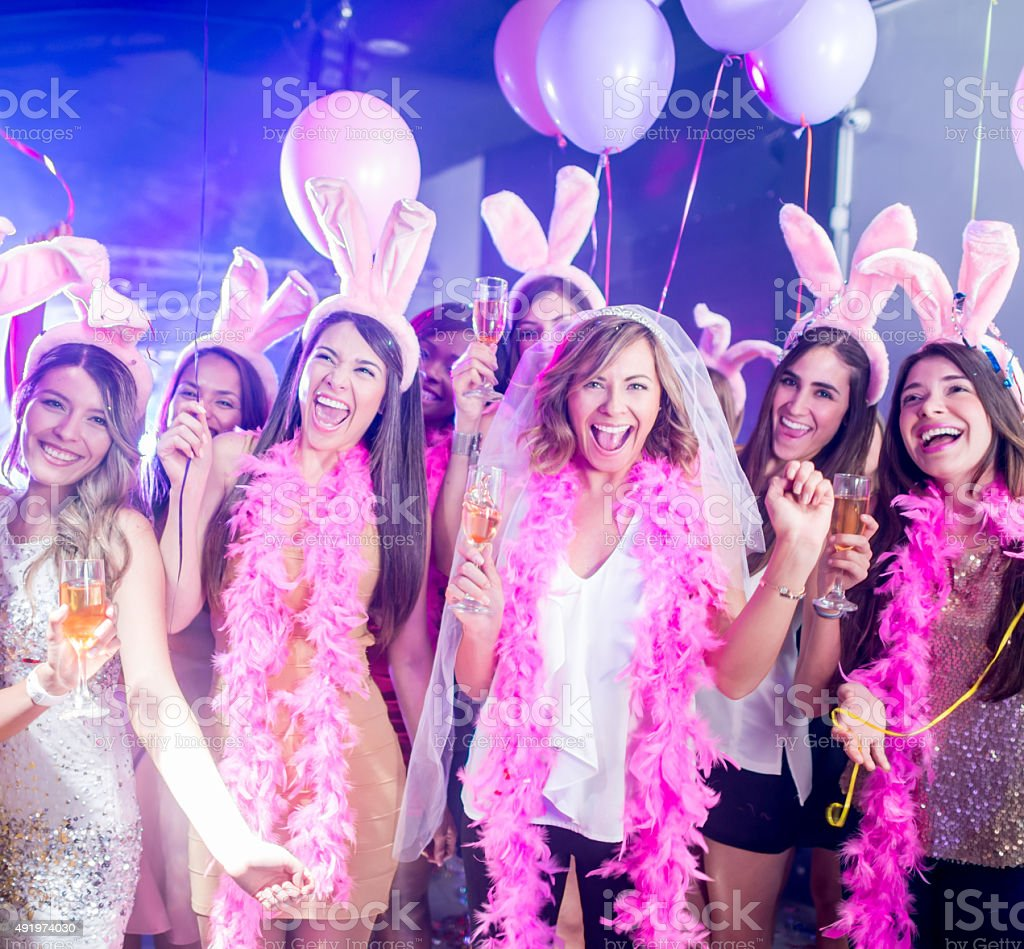 Bride having fun on her bachelorette party stock photo
