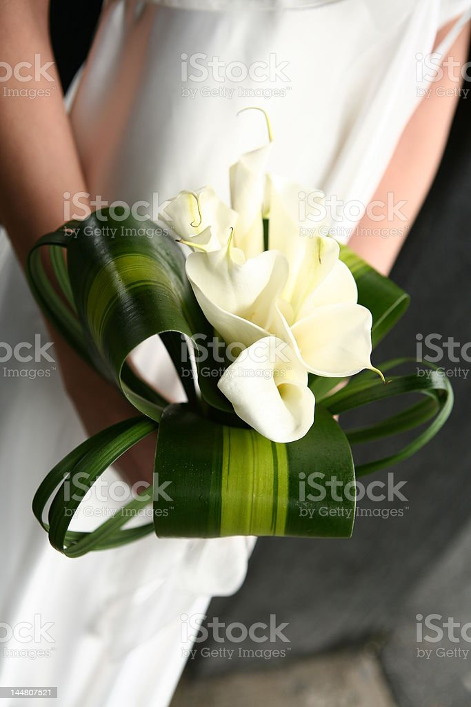 Bride holding a bouquet of white flowers royalty-free stock photo