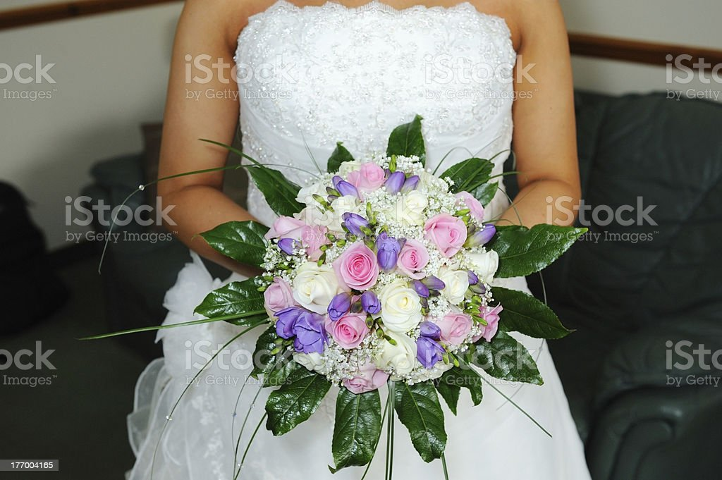 Bride holding flowers royalty-free stock photo
