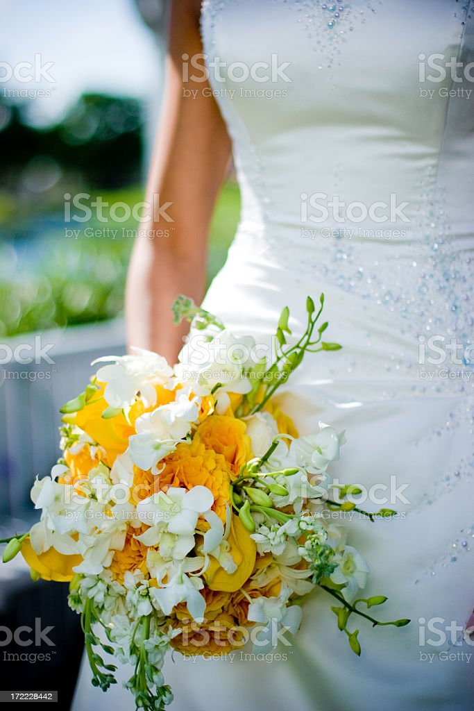 Bride Holding Her Bouquet royalty-free stock photo