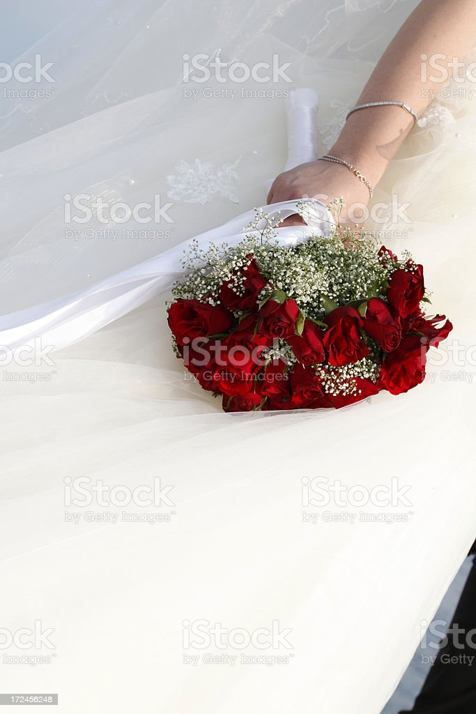bride holding her wedding flowers royalty-free stock photo