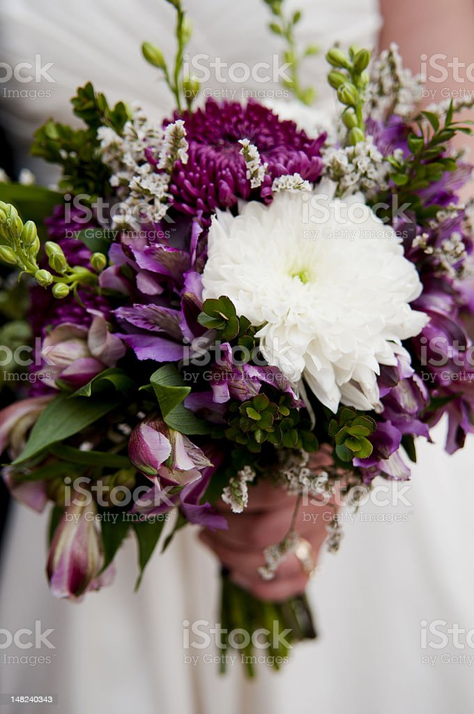 Bride holds bouquet of purple and white flowers stock photo