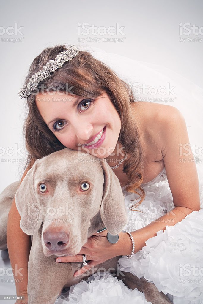 Bride Hugging Her Dog stock photo