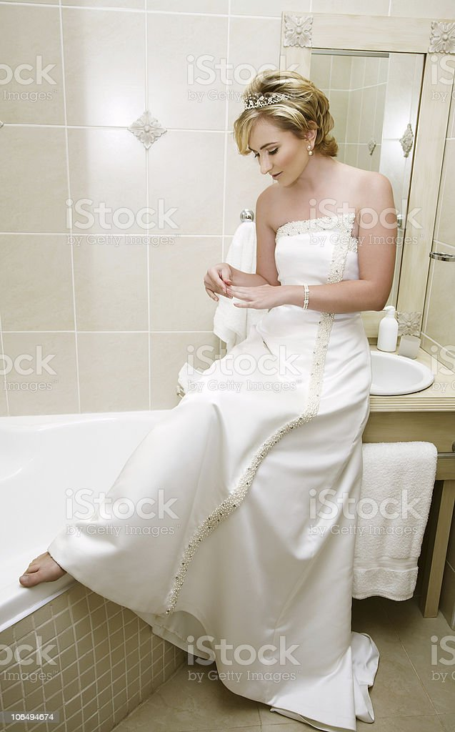 Bride in bathroom royalty-free stock photo