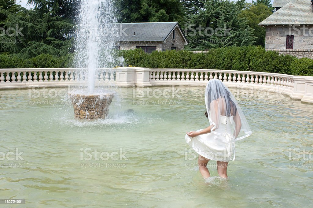 Bride in Fountain royalty-free stock photo