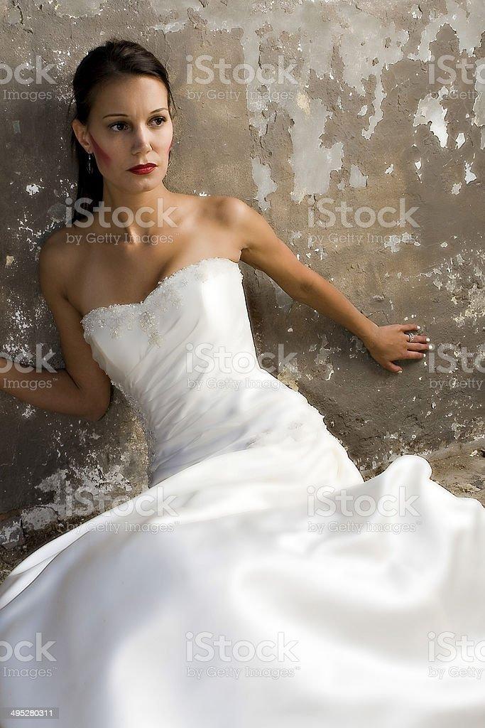 Bride in grunge scene stock photo