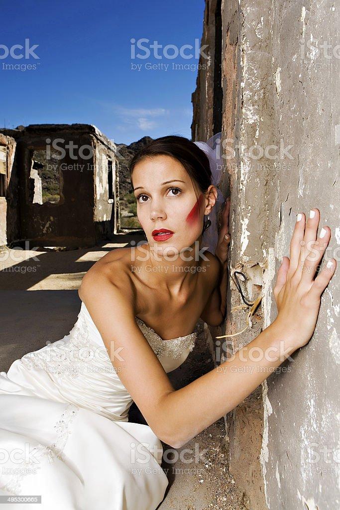 Bride in Ruins stock photo