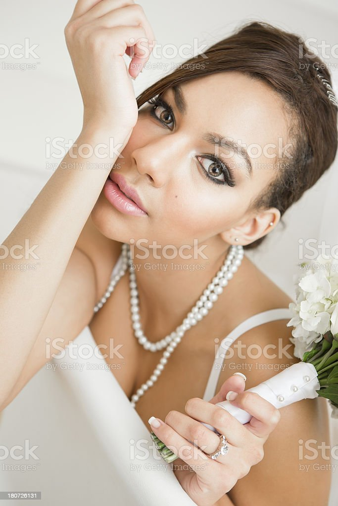 Bride in sitting on chair royalty-free stock photo