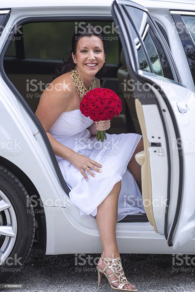 Bride in the limousine royalty-free stock photo