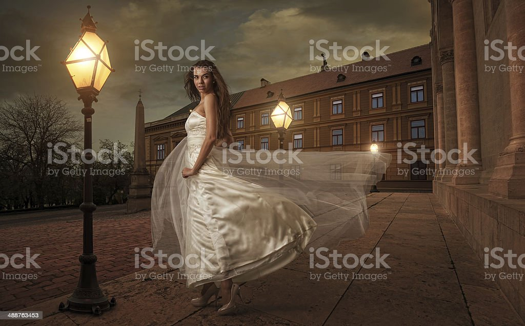 Bride in  the night before  church stock photo
