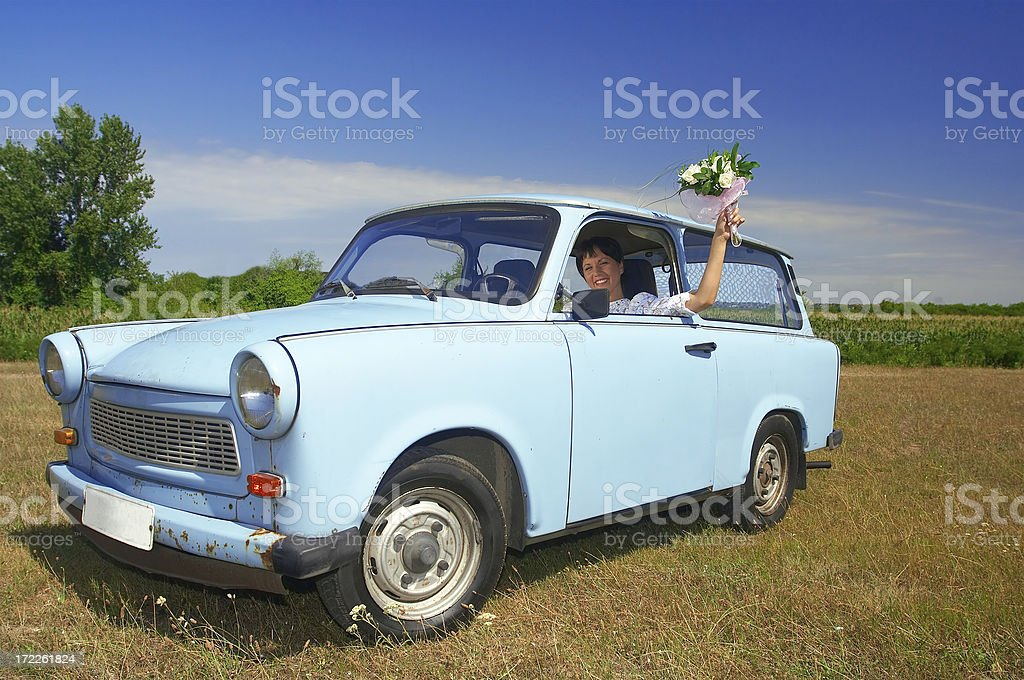 Bride in the old timer card stock photo