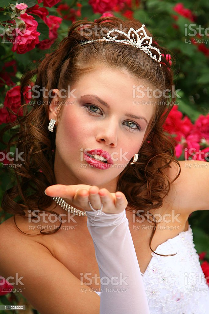Bride in the Red Roses royalty-free stock photo