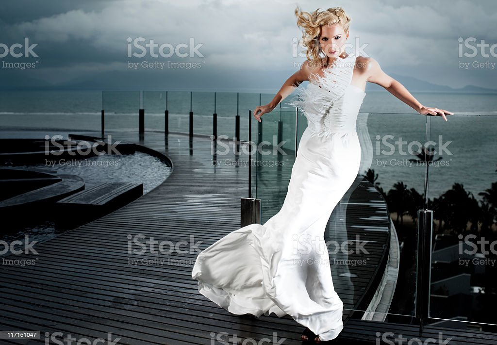 Bride In The Storm stock photo