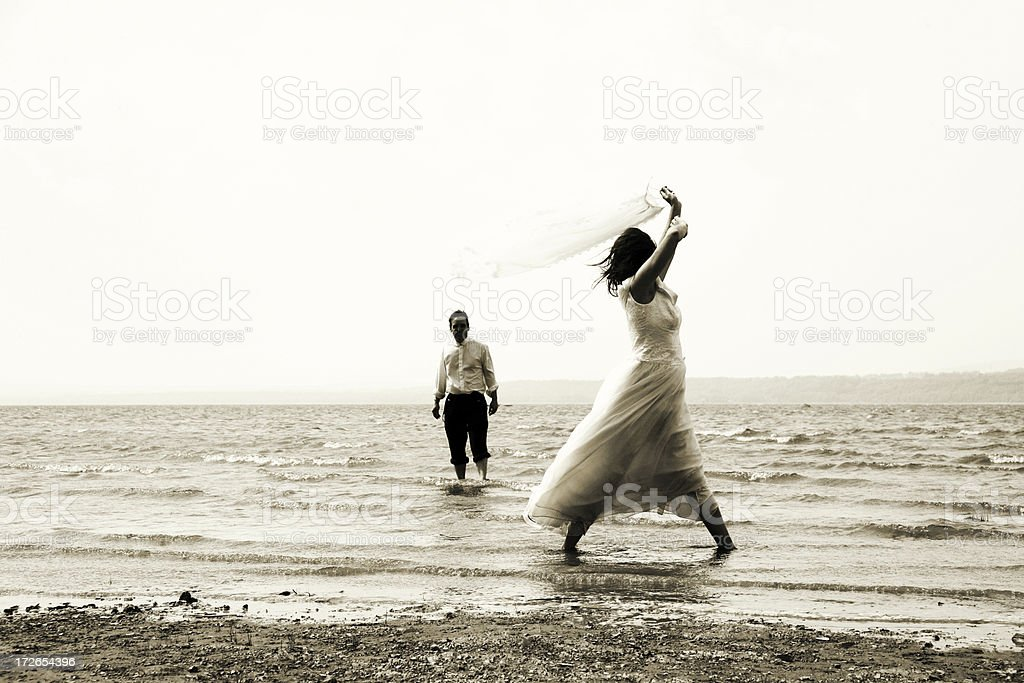 Bride in the water royalty-free stock photo