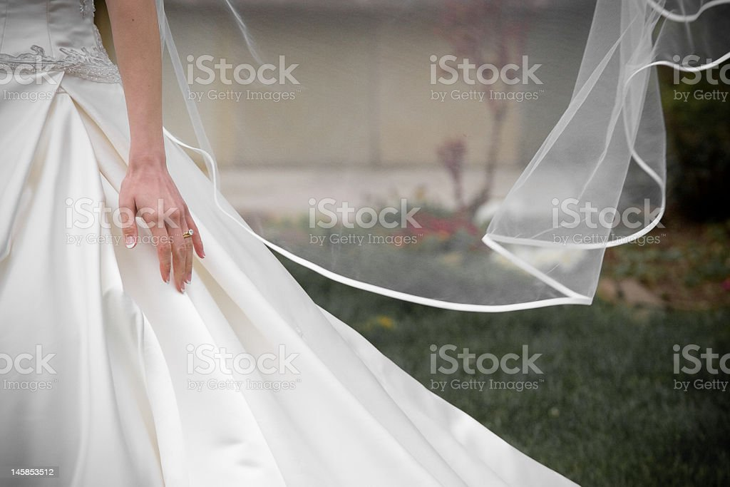 Bride in the wind royalty-free stock photo