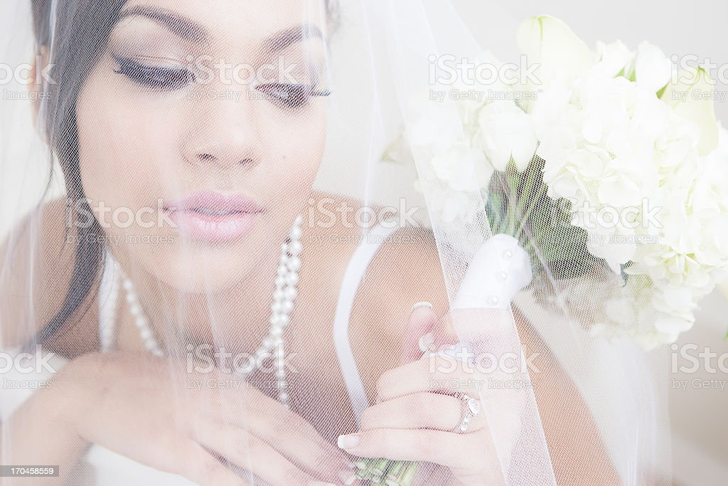 Bride in under veil royalty-free stock photo