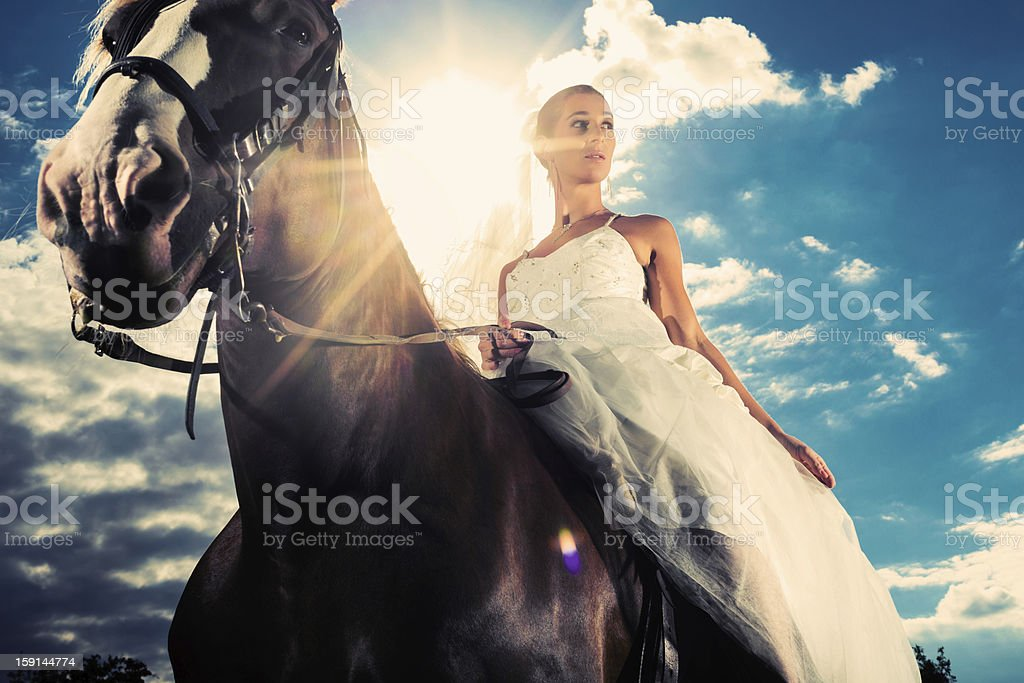 Bride in wedding dress riding a horse, backlit royalty-free stock photo