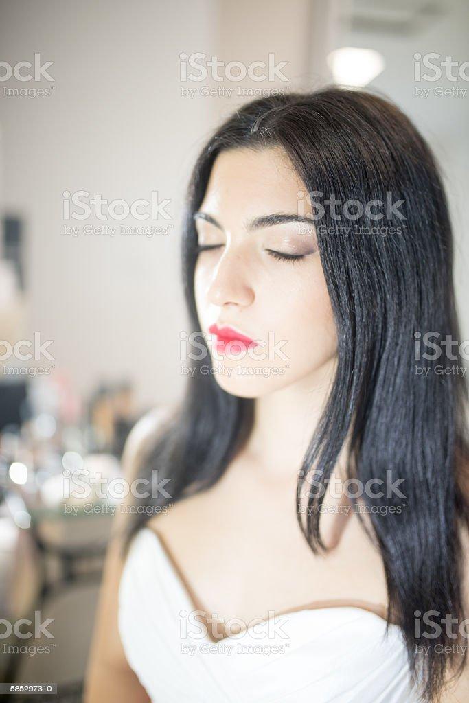 Bride in white stock photo