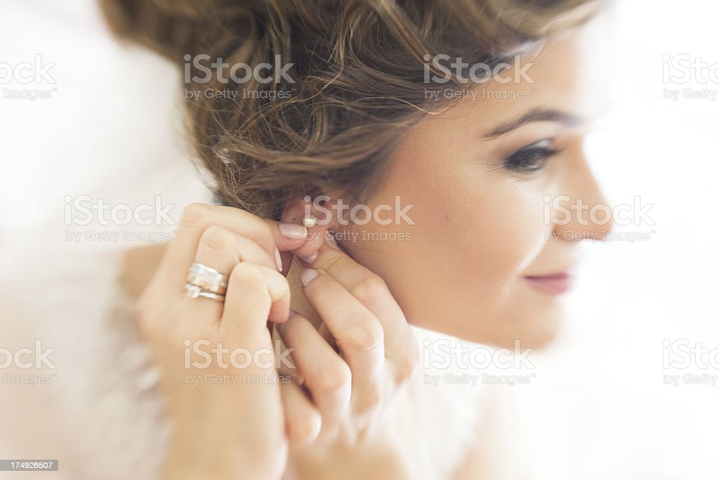 Bride is Getting Ready For Ceremony stock photo