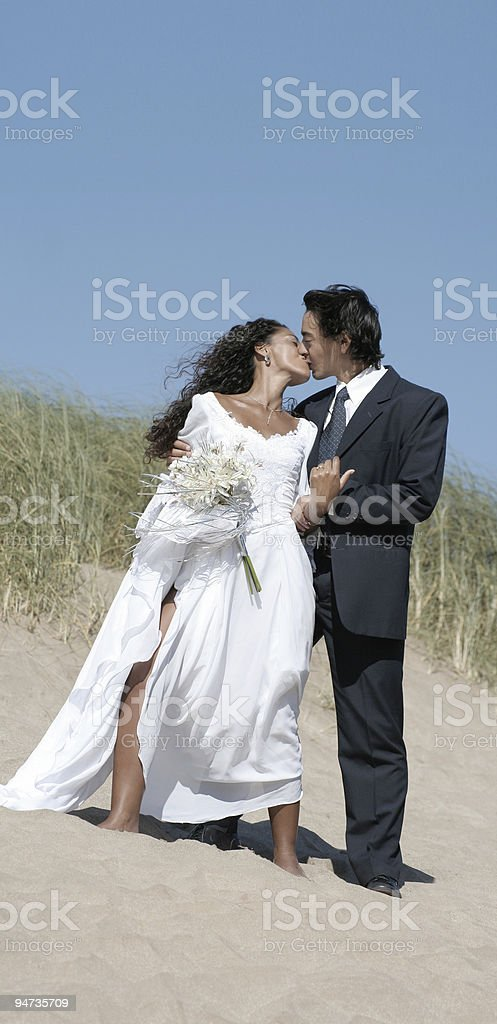 Bride kissing the groom royalty-free stock photo