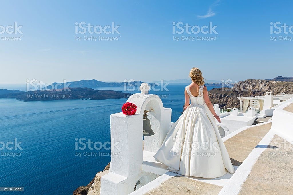Bride  look at the sea stock photo