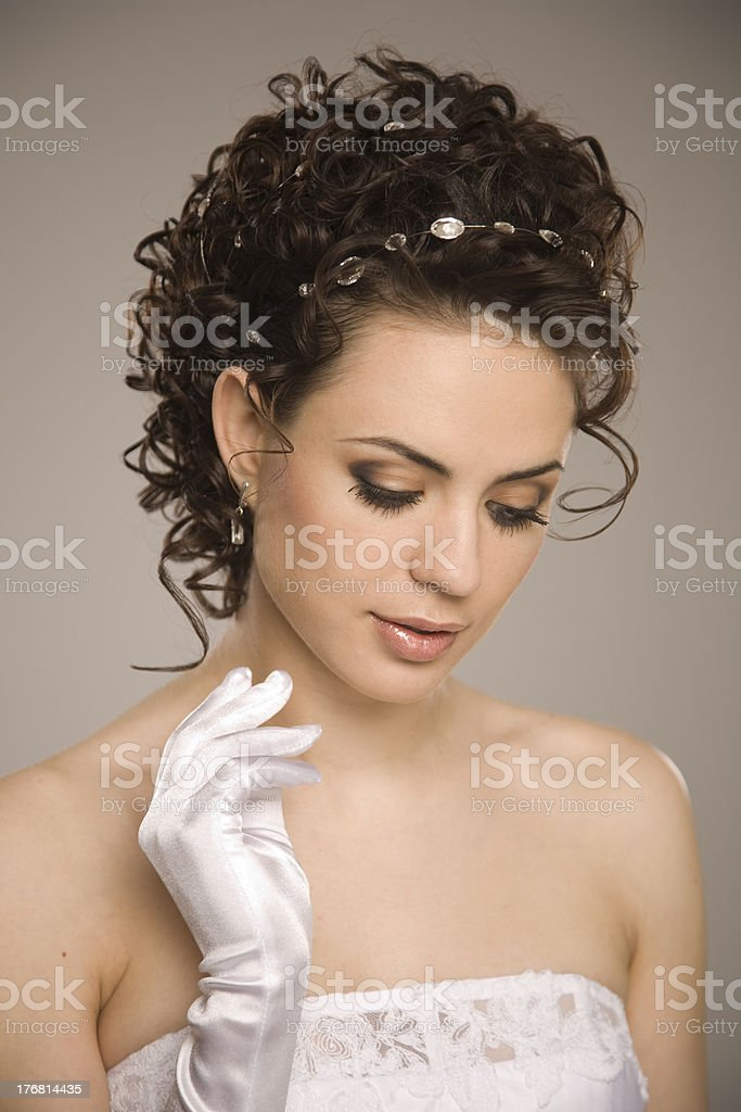 Bride looking down royalty-free stock photo