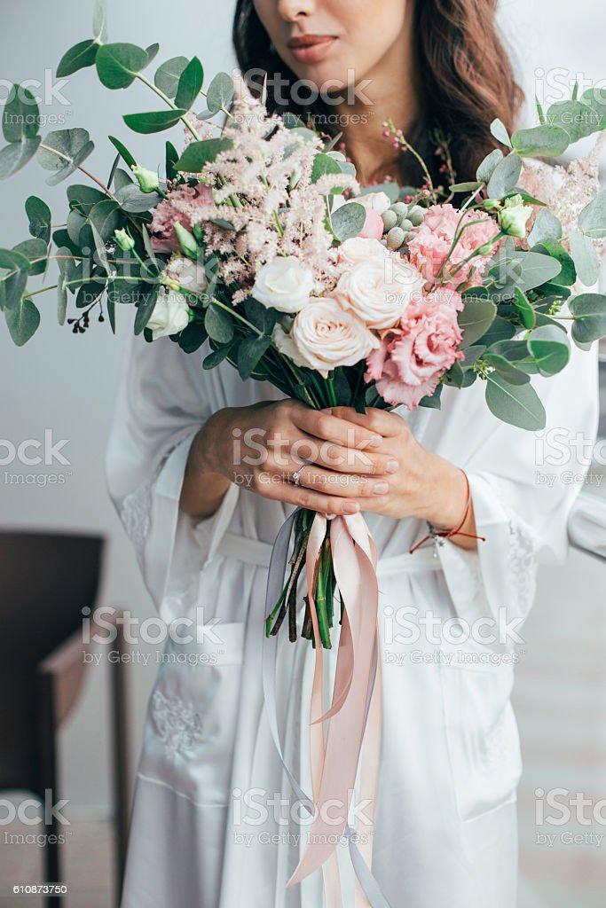 bride morning stock photo