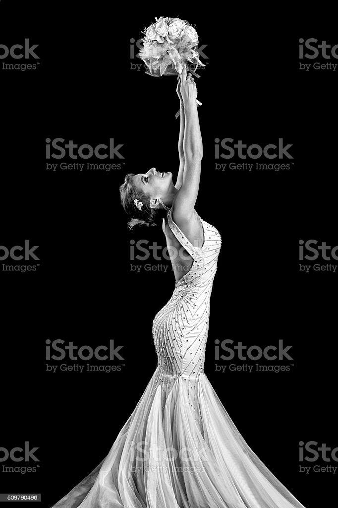 Bride on black stock photo