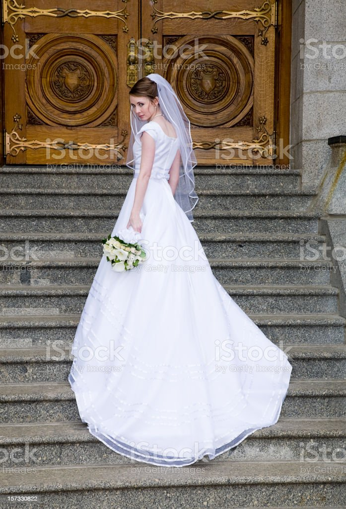 Bride on Stairs stock photo