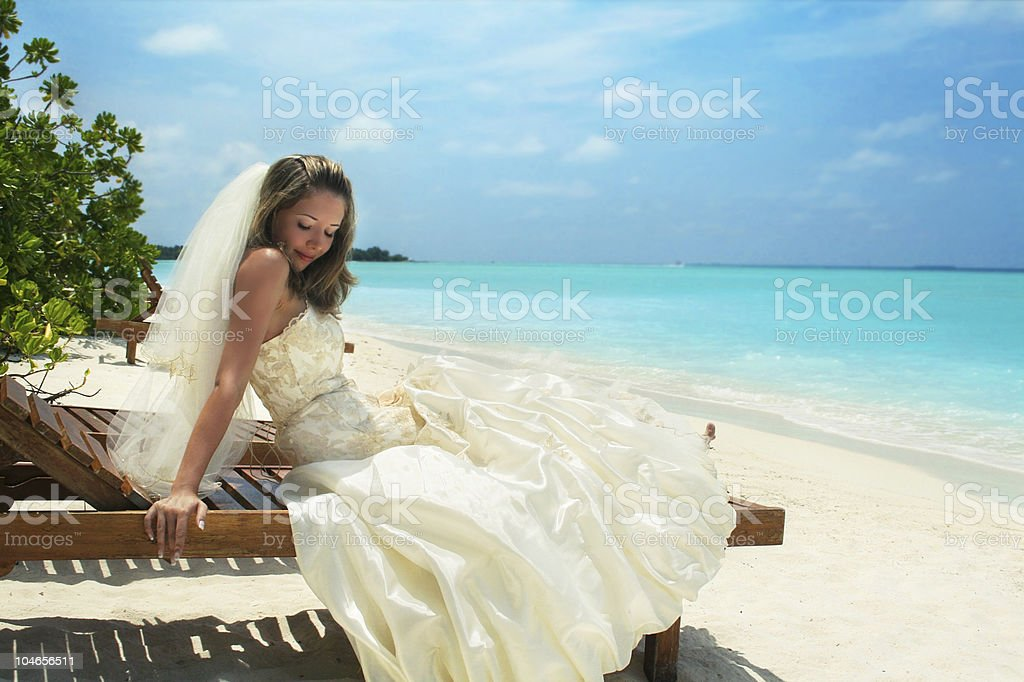 bride on the beach royalty-free stock photo